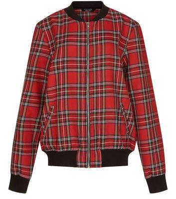 teens-red-tartan-check-bomber-jacket