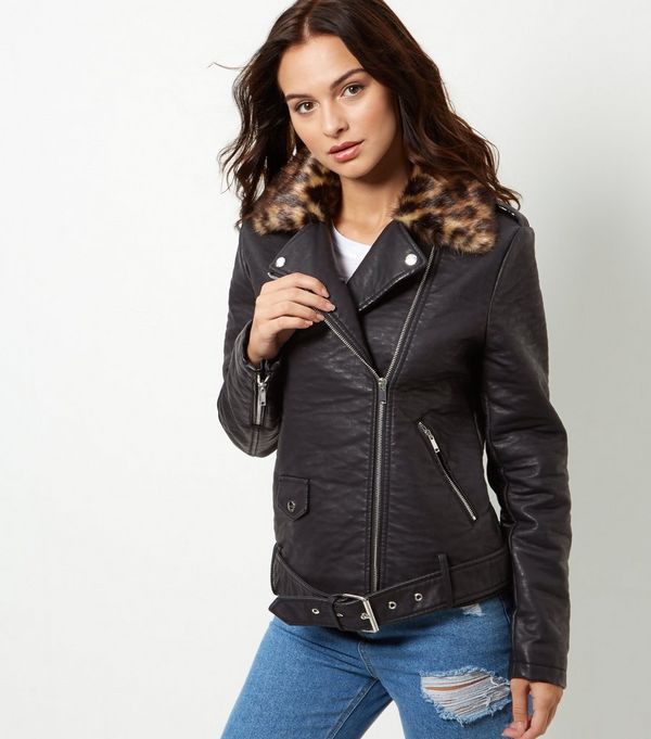 Long black coat with leather sleeves – Modern fashion jacket photo ...
