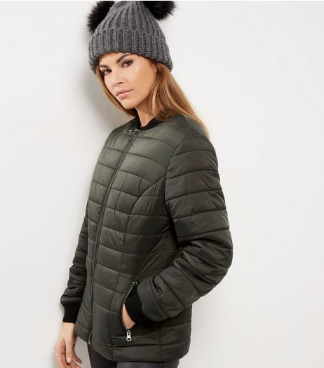 Dark Green Quilted Padded Bomber Jacket  | New Look