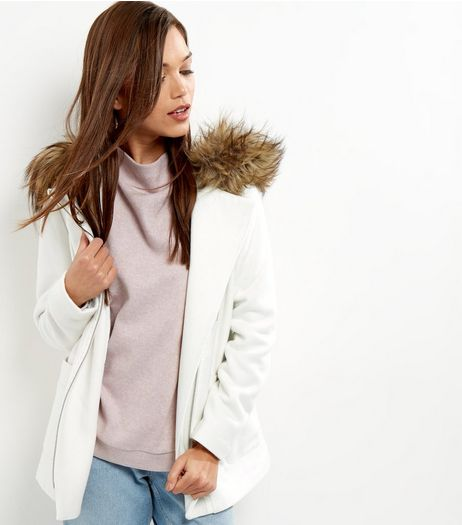 White Faux Fur Trim Hooded Biker Jacket  | New Look