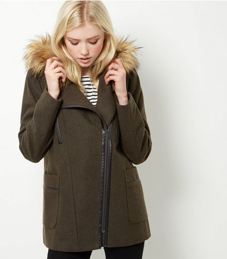 Khaki Faux Fur Trim Hooded Biker Jacket | New Look