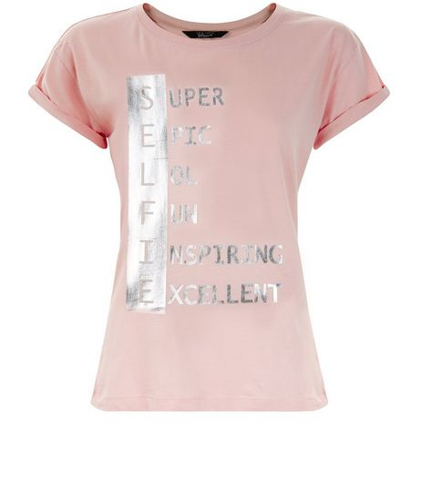Teens Pink Selfie Print Foil T-Shirt | New Look