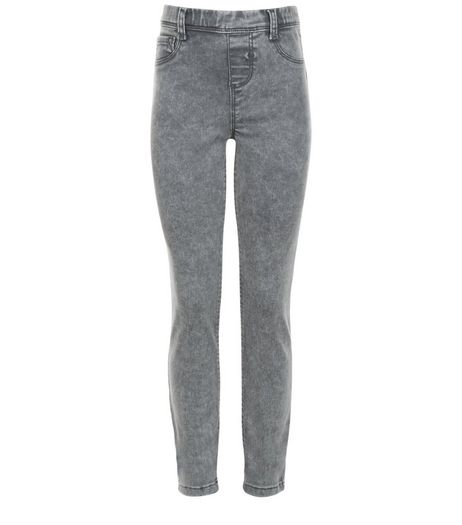 Girls Grey Acid Wash Jeggings | New Look
