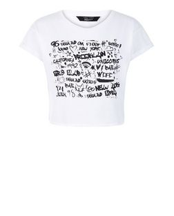 Teens White Graffiti Print Crop Top | New Look