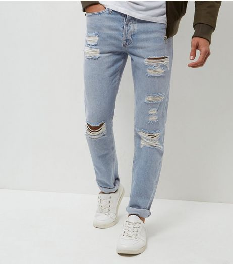 Blue Stonewash Extreme Rip Slim Jeans | New Look