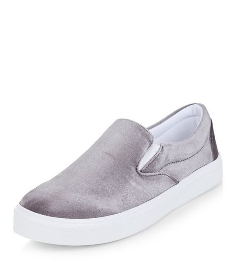 Grey Velvet Slip On Plimsolls  | New Look