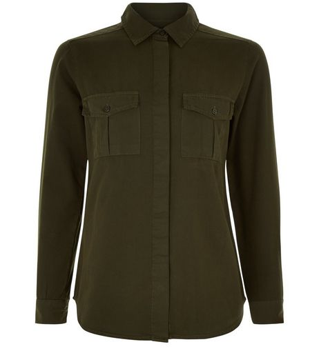 Teens Khaki Double Pocket Long Sleeve Shirt | New Look