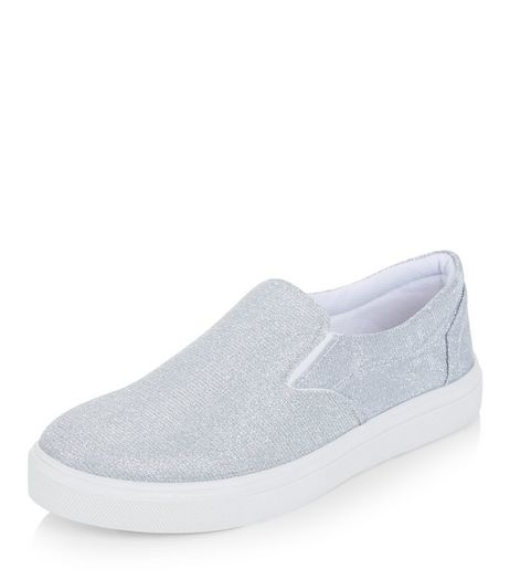 Silver Glitter Slip On Plimsolls  | New Look