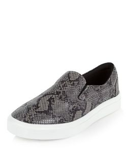 Grey Snakeskin Print Slip On Plimsolls | New Look
