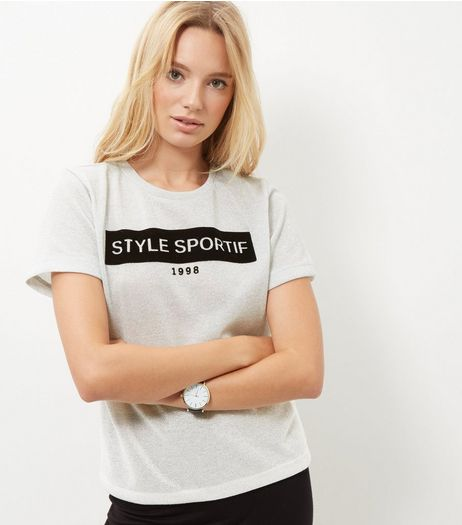Silver Metallic Style Sportif T-Shirt  | New Look