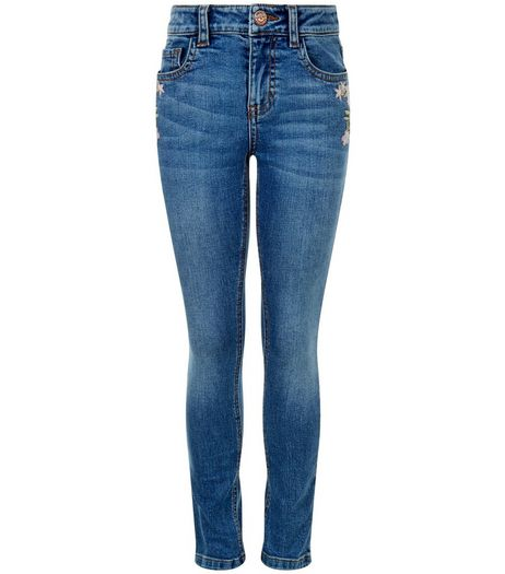 Girls Blue Embroirdered Skinny Jeans | New Look