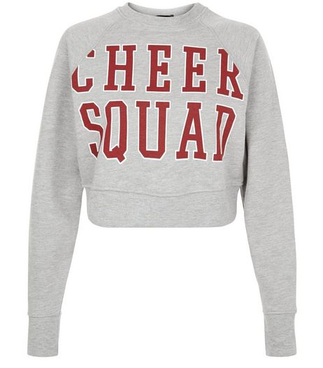 Grey Cheeer Squad Cropped Sweater  | New Look