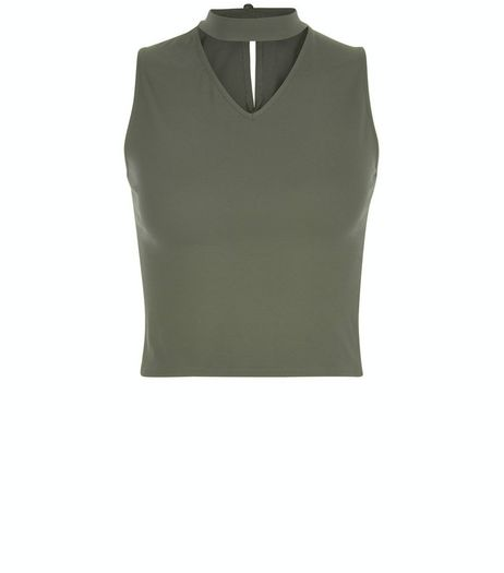 Teens Khaki Cut Out Sleeveless Top | New Look
