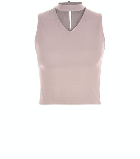 Teens Shell Pink Choker Neck Cut Out Front Top  | New Look