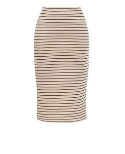 Parisian Stone Stripe Pencil Skirt | New Look