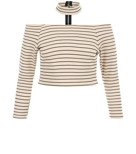 Parisian Stone Stripe Choker Bardot Neck Top  | New Look