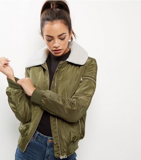 Khaki Borg Collar Bomber Jacket | New Look