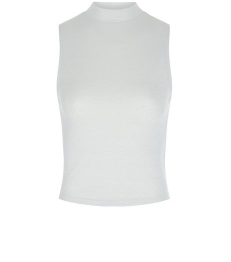Teens Silver Metallic Ribbed Sleeveless Turtle Neck Top  | New Look