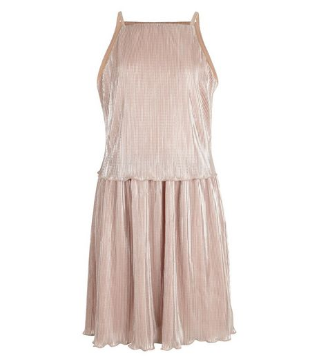Teens Pink Metallic Layered Pleated Dress | New Look