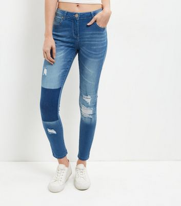 Parisian Blue Ripped Knee Patchwork Jeans