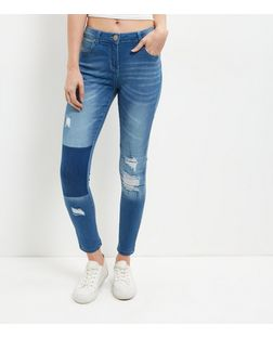 Parisian Blue Ripped Knee Patchwork Jeans | New Look