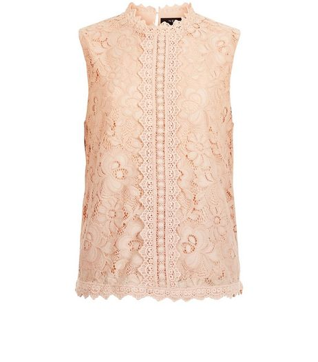 Teens Shell Pink Lace SleevelessTop | New Look