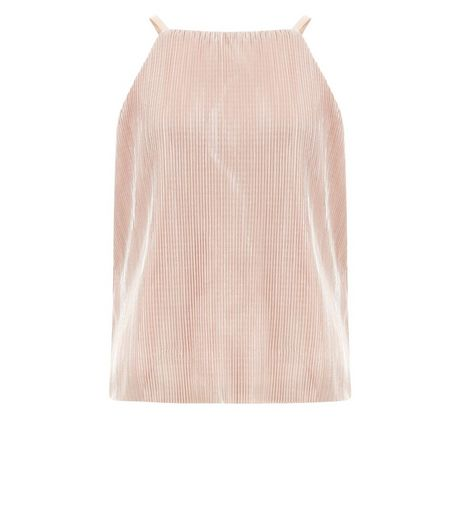 Shell Pink High Neck Foil Cami | New Look