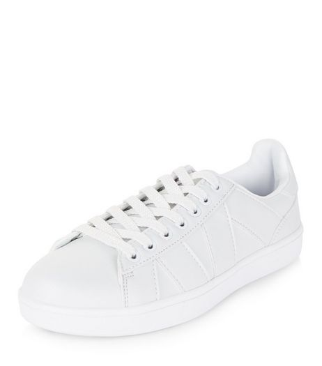 Teens White Leather-Look Plimsolls | New Look