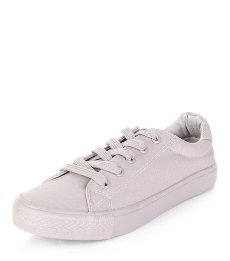 Teens Grey Canvas Lace Up Plimsolls | New Look
