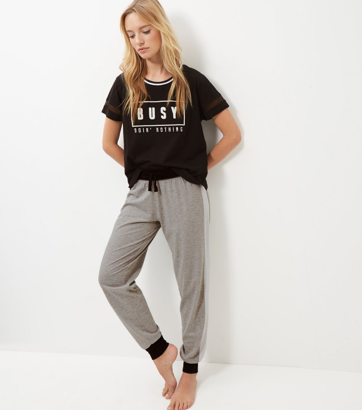 Black Busy Doing Nothing Pyjama Set | New Look
