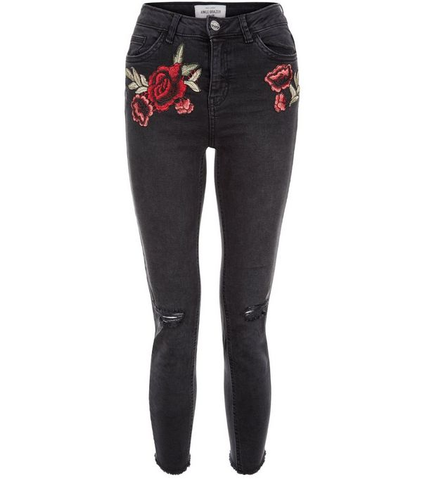 Black Rose Embroidered Ripped Knee Skinny Jeans
