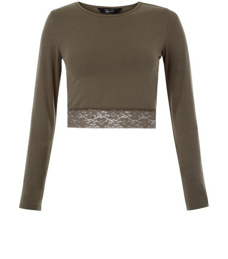 Khaki Long Sleeve Lace Trim Crop Top  | New Look