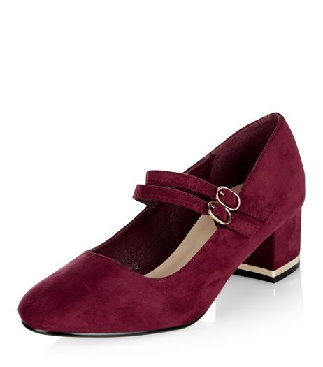 Teens Dark Red Suedette Metal Trim Block Heels  | New Look