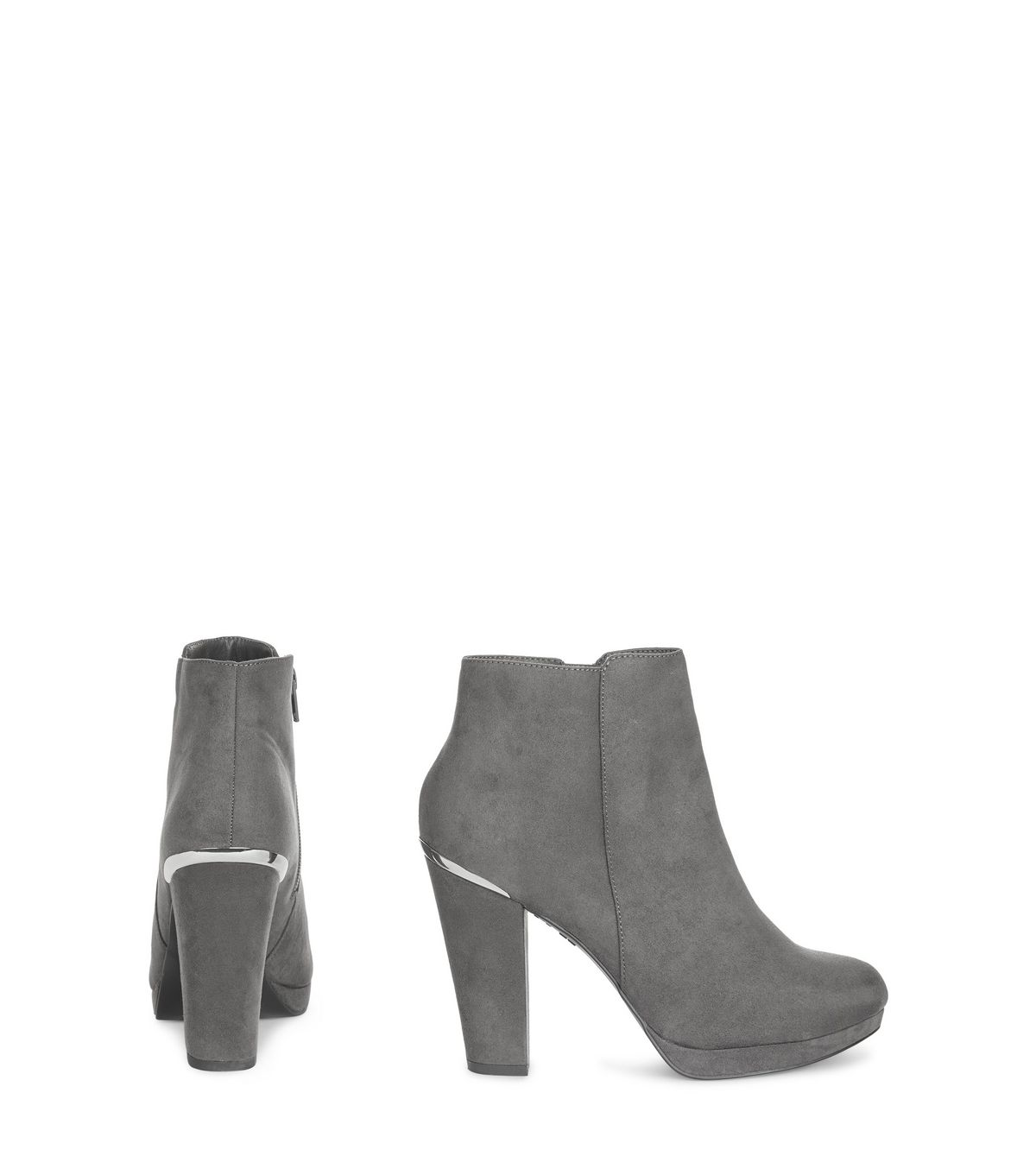 Grey Comfort Suedette Metal Trim Ankle Boots | New Look