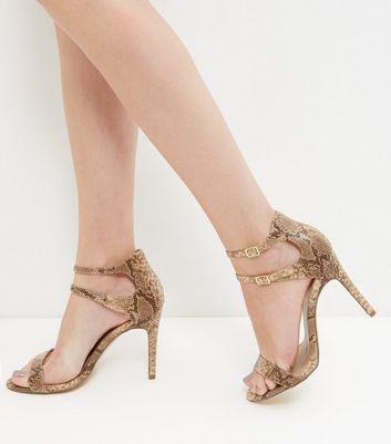 Sandalo  donna Black Snakeskin Print Double Ankle Strap Heels