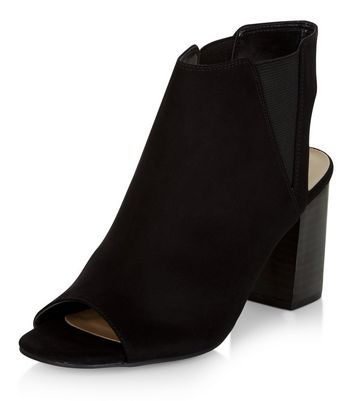 Sandalo  donna Black Suedette Peep Toe Block Heel Ankle Boots