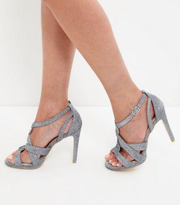 Sandalo  donna Silver Glitter Twist Strap Heeled Sandals