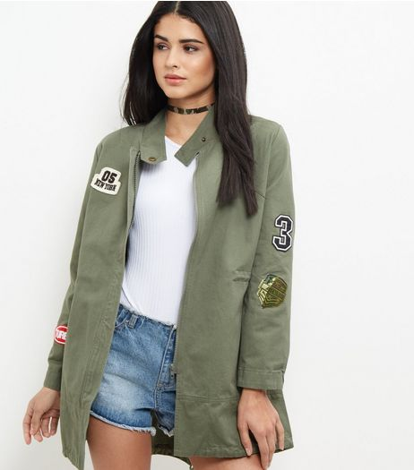 Khaki Badge Embroidered Utility Parka Jacket  | New Look