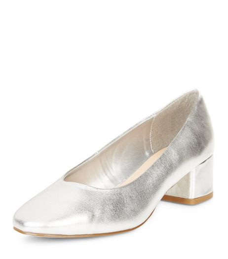 Silver Block Heel Court Shoes  | New Look