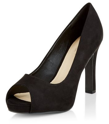Sandalo  donna Black Comfort Suedette Peep Toe Platform Heels