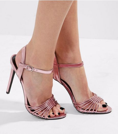 Pink Mirror Strappy Heeled Sandals | New Look