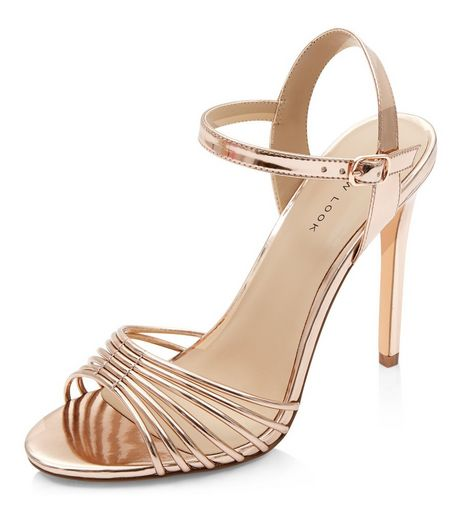 Rose Gold Strappy Heeled Sandals  | New Look