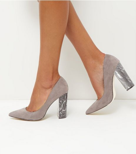 Grey Suedette Marble Block Heels | New Look