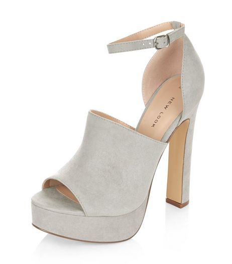 Grey Suedette Peep Toe Ankle Strap Platform Heels  | New Look