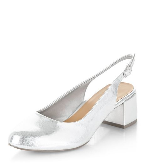 Wide Fit Silver Metallic Sling Back Mid Heels  | New Look