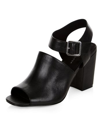 Sandalo  donna Black Leather Cut Out Peep Toe Heeled Sandals
