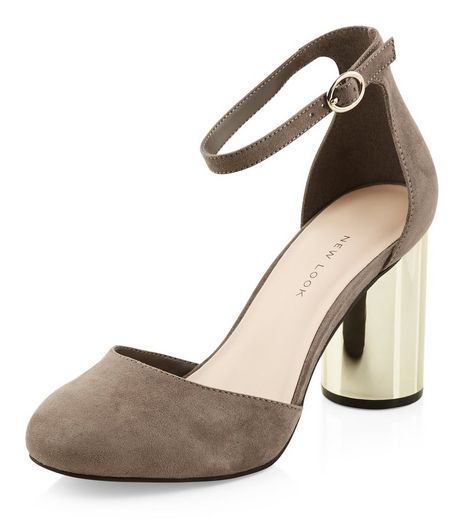 Wide Fit Grey Suedette Ankle Strap Contrast Cylindrical Heels  | New Look