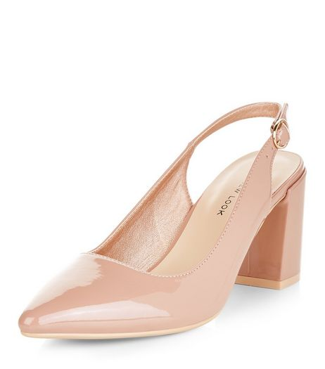 Wide Fit Pink Patent Sling Back Flared Heels | New Look