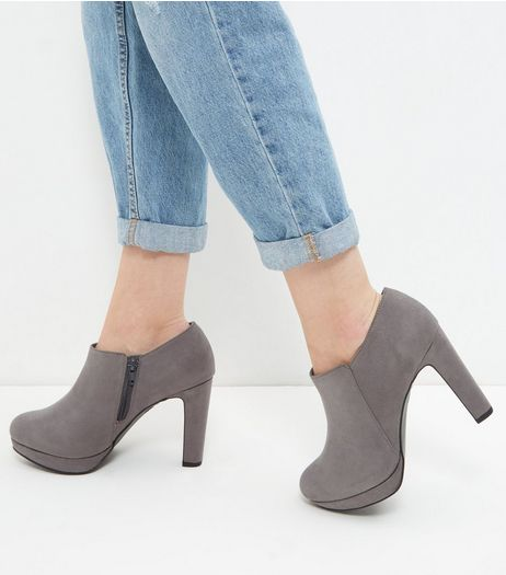 Wide Fit Grey Suedette Platform Shoe Boots  | New Look