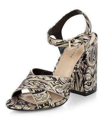 Sandalo  donna Black Floral Print Brocade Heeled Sandals